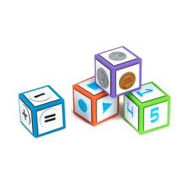 "Magnetic QuietShape® 3"" Write-On/Wipe-Off Dice: Set of 4 - Bright Colors"