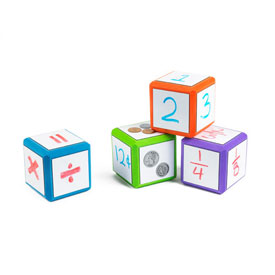 "Magnetic QuietShape® Foam 1.5"" Write-On/Wipe-Off Dice: Set of 12 - Bright Colors"
