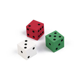 QuietShape® Foam Dot Dice: 2cm - Set of 144 Red/Green/White