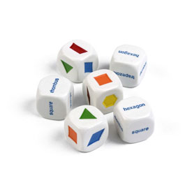 Pattern Block and Shape Word Dice - Set of 6