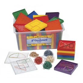 "5"" Double-Sided 5 x 5 Pin Array Geoboard Classroom Kit"