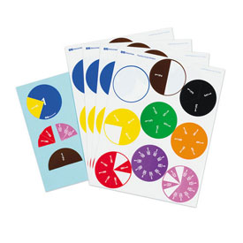 Fraction Circle Stickers - 20 Sets of 51