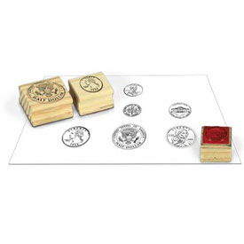 Wooden Coin Stamps - Heads: Set of 6