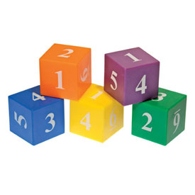 "Plastic Numbered Dice: Assorted Colors: 1"" - Set of 102"