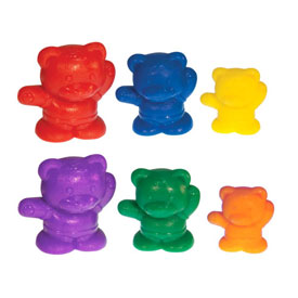 Backpack Bear Counters: 3 Sizes: 6 Colors - Set of 96