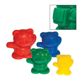 Backpack Bear Counters: 3 Sizes: 4 Colors - Set of 480 in Tub