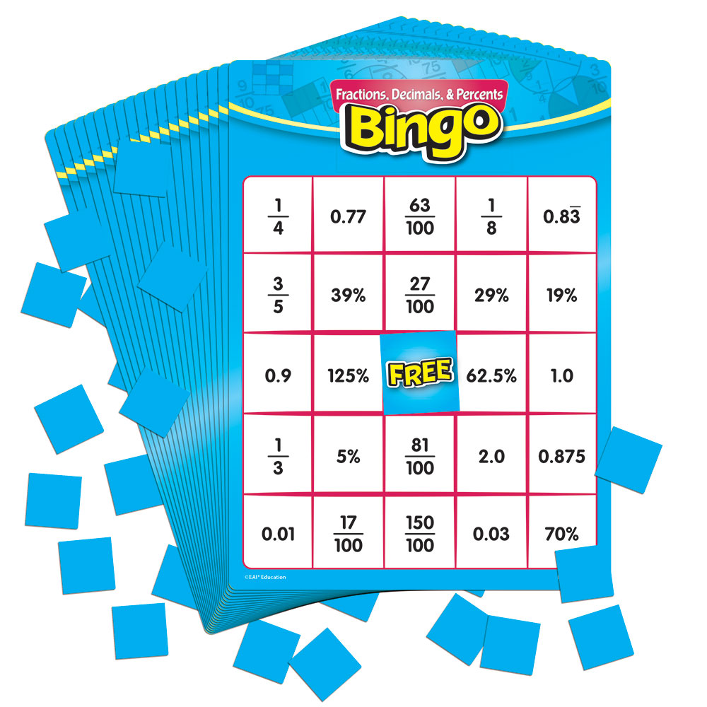Fractions, Decimals, and Percents Bingo: Grades 4-8 - Common Core ...
