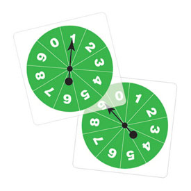 Transparent/Student Spinners - Numbered 0-9: Set of 5