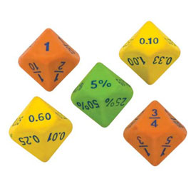 Equivalency Dice, 10-Sided: Set of 6
