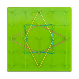 "7"" Double-Sided 5 x 5 Straight Pin Grid Geoboard - Set of 6"