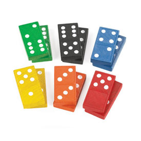 Double-Six Dominoes: Wood: Color - 30 Sets of 28