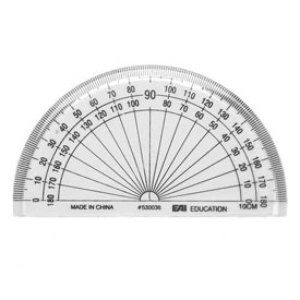 "4"" Protractor: Clear - Set of 100 in tub"