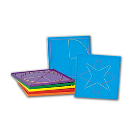 "8"" Double-Sided 7 x 7 Pin Grid Geoboard - Set of 6"