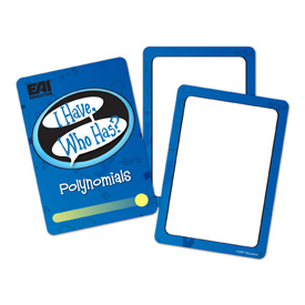 I Have, Who Has? Wild Cards - Polynomials Game: Grades 7+
