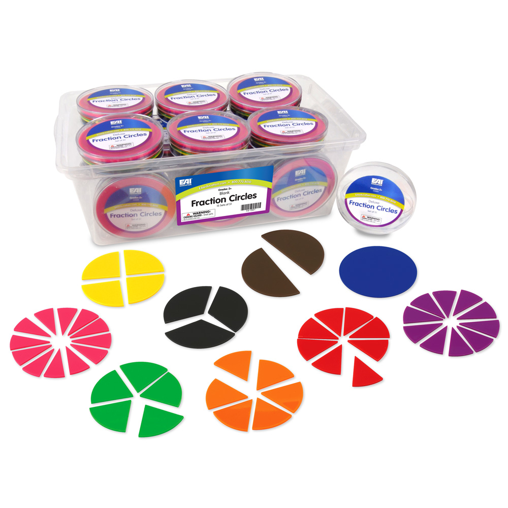 deluxe fraction circles: blank - 15 sets of 51 in tub - common core