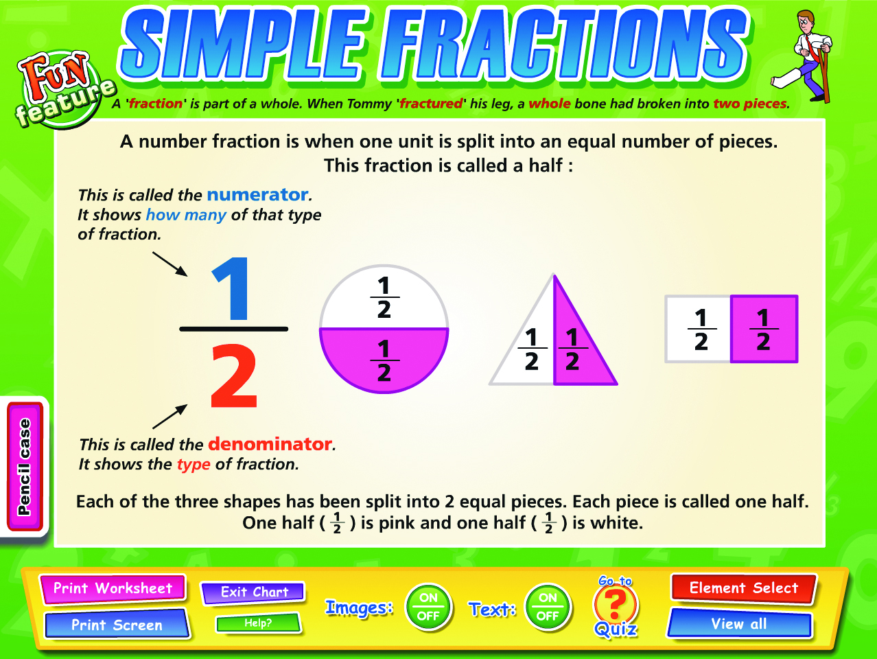 worksheet Simple Fraction fractions decimals percentages interactive whiteboard chart set system requirements 64mb ram 800x600 color display 24 bit recommended windows 98 or highermac os 9 0 4 above com